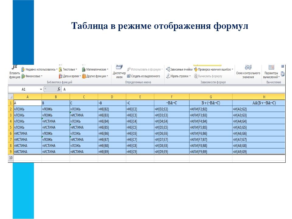 Таблица в режиме отображения формул