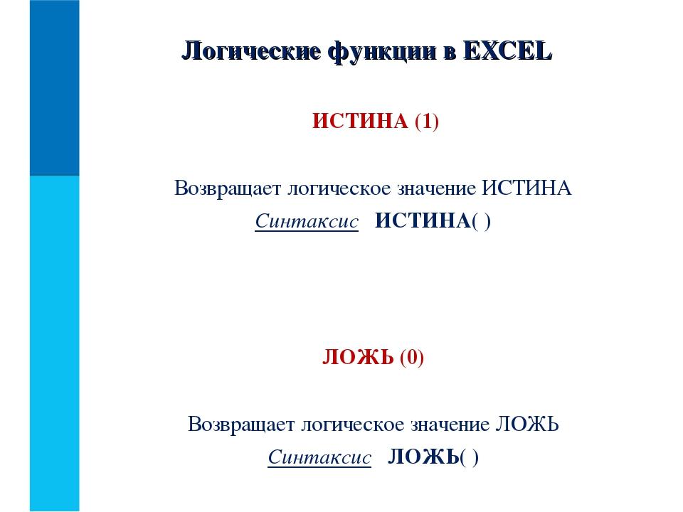 ИСТИНА (1) Возвращает логическое значение ИСТИНА Синтаксис ИСТИНА( ) ЛОЖЬ (0...