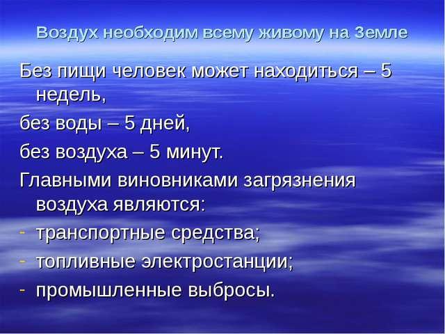 Воздух необходим всему живому на Земле Без пищи человек может находиться – 5...