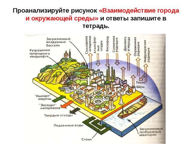 Проанализируйте рисунок «Взаимодействие города и окружающей среды» и ответы з...