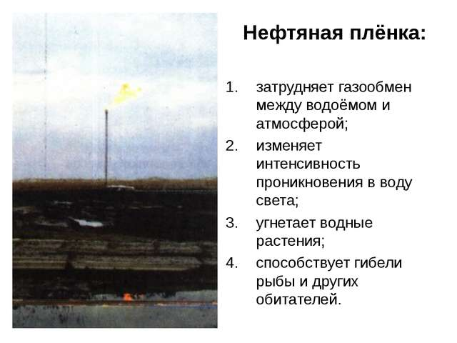 Нефтяная плёнка: затрудняет газообмен между водоёмом и атмосферой; изменяет...