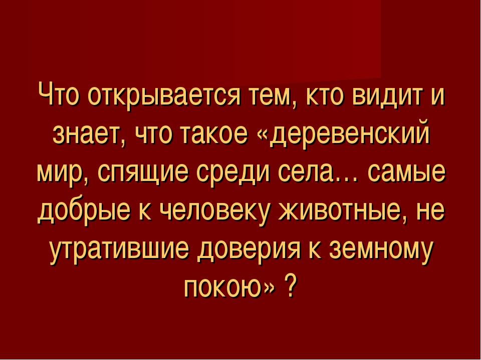 Что открывается тем, кто видит и знает, что такое «деревенский мир, спящие ср...