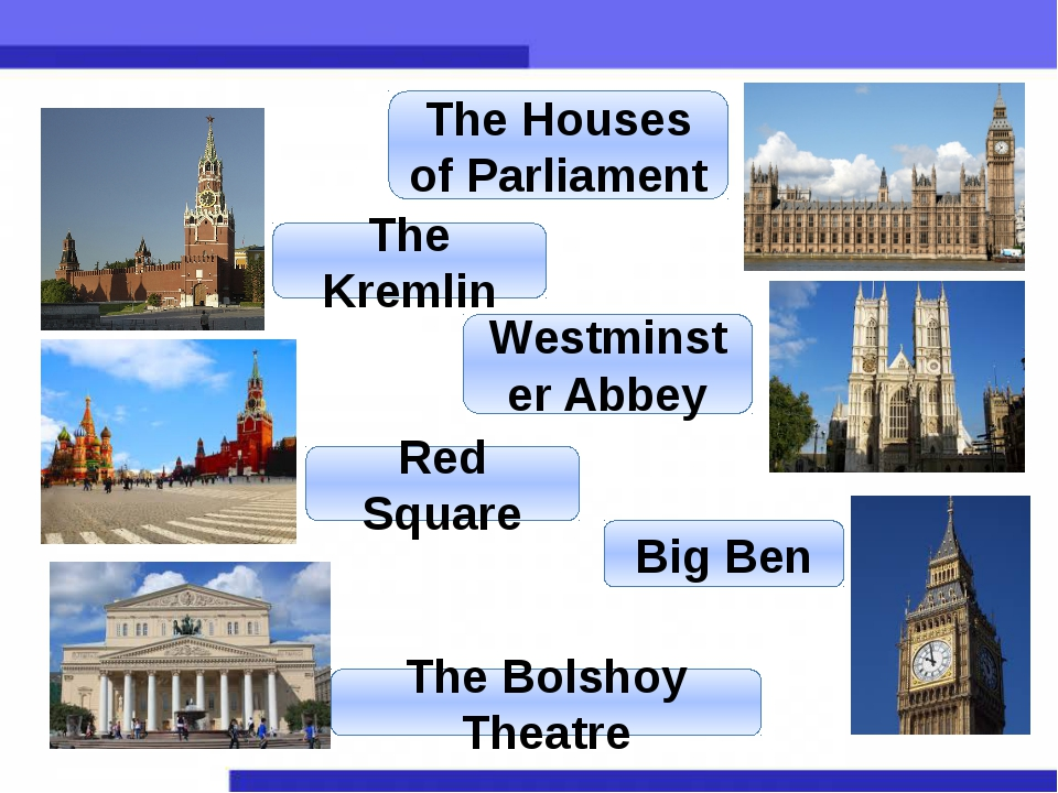 The Kremlin The Houses of Parliament Red Square Westminster Abbey The Bolshoy...