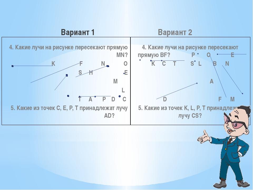 Вариант 1 4. Какие лучи на рисунке пересекают прямую MN? K F N O S H E M L T...