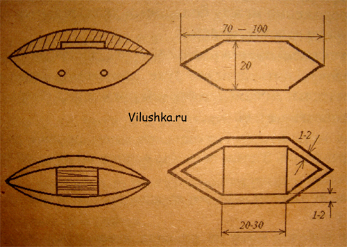 чертеж для изготовления челнока фриволите