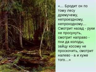 «… Бродит он по тому лесу дремучему, непроездному, непроходному… Смотрит наза