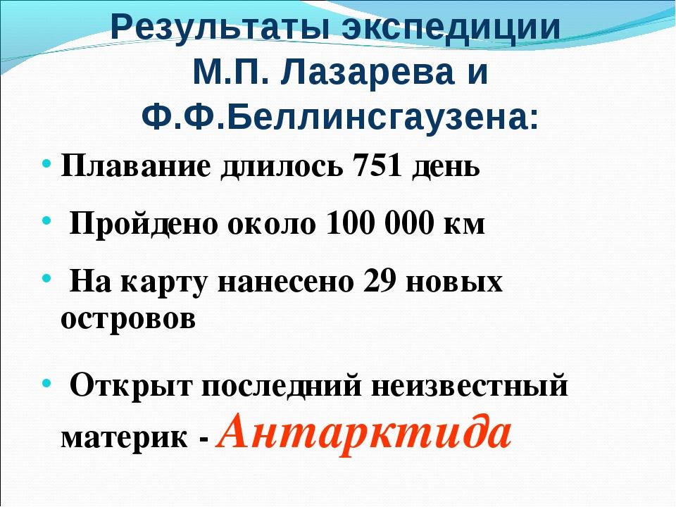 Результаты экспедиции М.П. Лазарева и Ф.Ф.Беллинсгаузена: Плавание длилось 75...