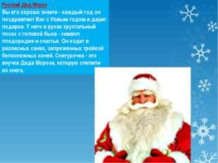 Русский Дед Мороз Вы его хорошо знаете - каждый год он поздравляет Вас с Новы