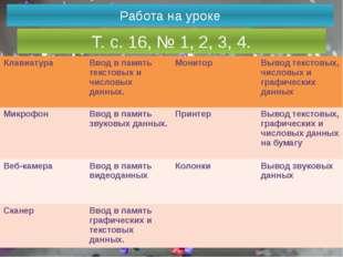 Работа на уроке Т. с. 16, № 1, 2, 3, 4. Клавиатура Вводв память текстовых и ч