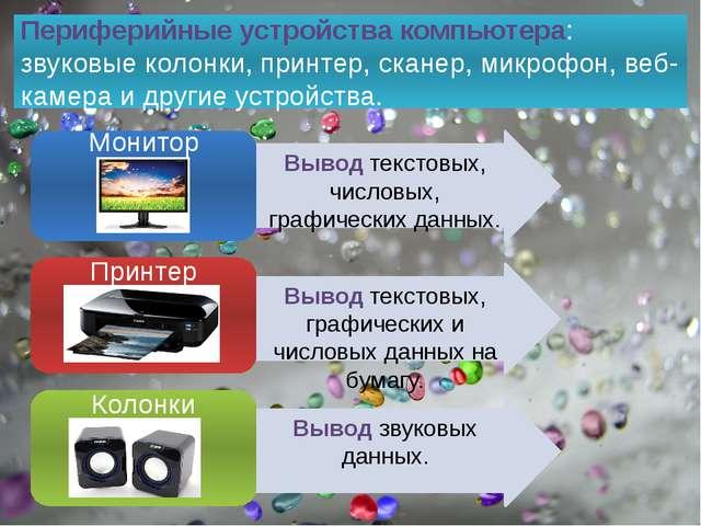 Периферийные устройства компьютера: звуковые колонки, принтер, сканер, микроф...