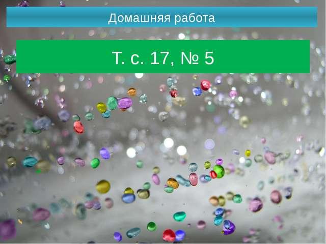 Домашняя работа Т. с. 17, № 5