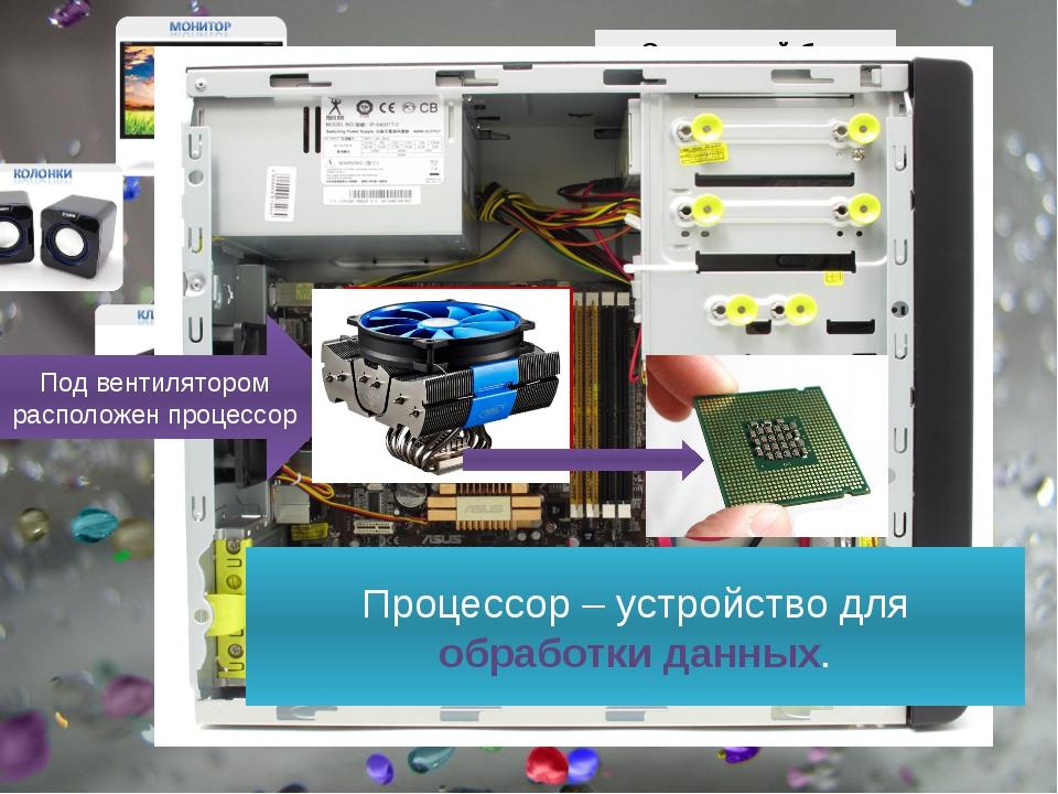 Под вентилятором расположен процессор Процессор – устройство для обработки д...