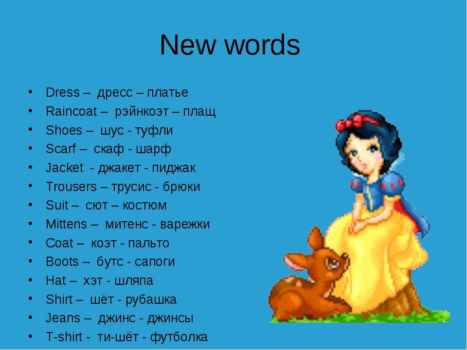 New words Dress – дресс – платье Raincoat – рэйнкоэт – плащ Shoes – шус - туф...