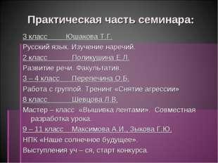 Практическая часть семинара: 3 класс Юшакова Т.Г. Русский язык. Изучение наре