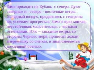Зима приходит на Кубань с севера. Дуют северные и северо - восточные ветры. Х
