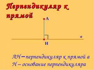 Перпендикуляр к прямой А H а АH перпендикуляр к прямой а H – основание перпе