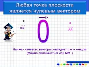 Начало нулевого вектора совпадает с его концом (Можно обозначать 0 или ММ )