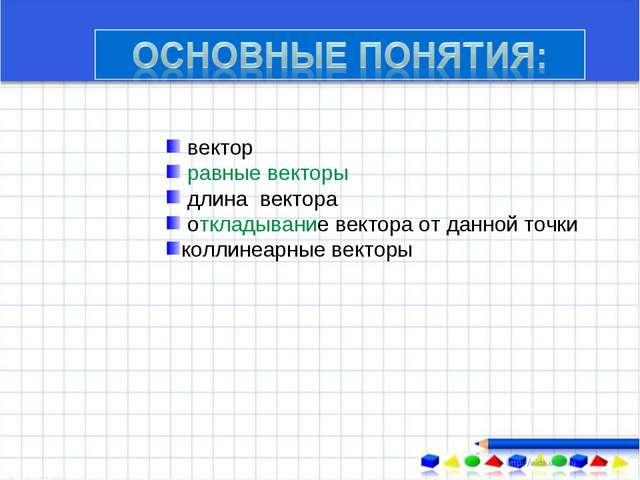 вектор равные векторы длина вектора откладывание вектора от данной точки кол...