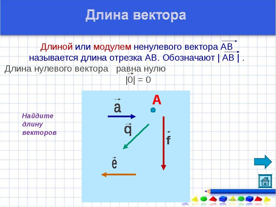 Длиной или модулем ненулевого вектора АВ называется длина отрезка АВ. Обознач...