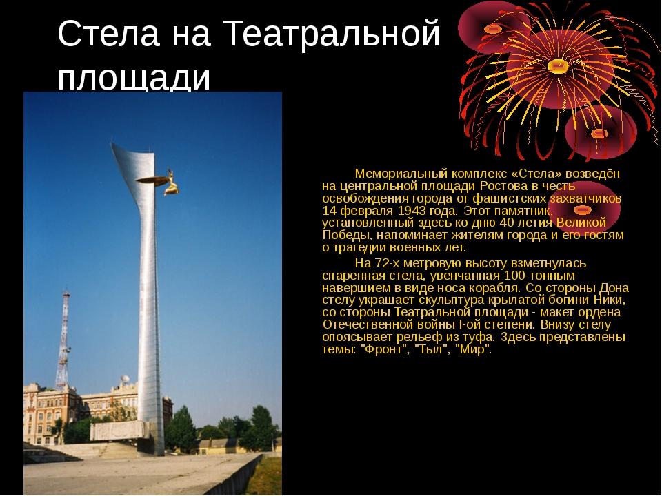Стела на Театральной площади Мемориальный комплекс «Стела» возведён на центра...