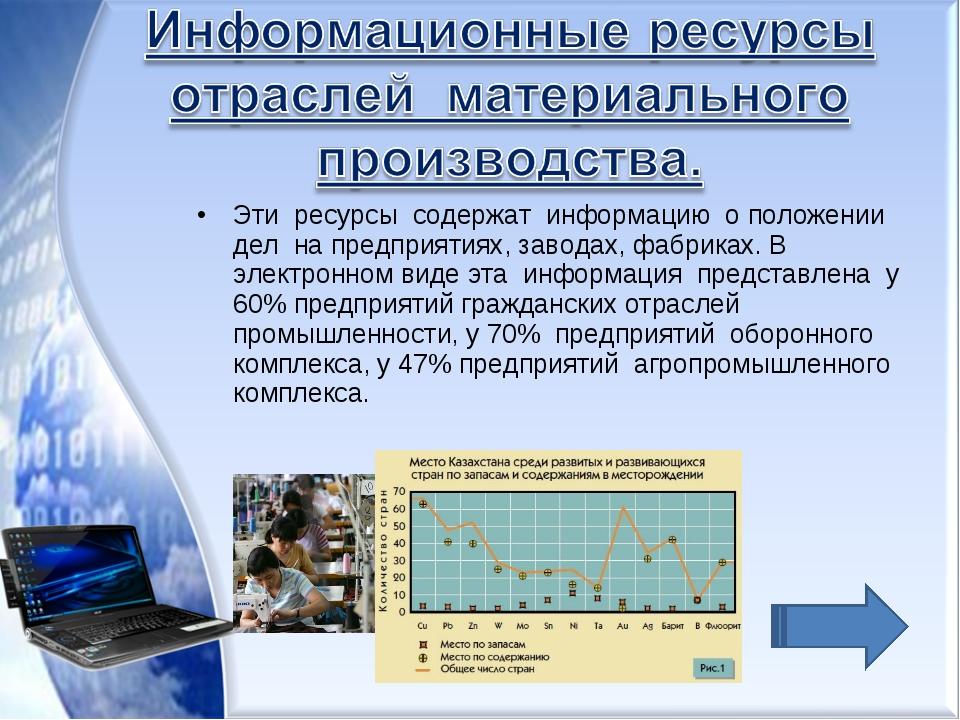Эти ресурсы содержат информацию о положении дел на предприятиях, заводах, фаб...
