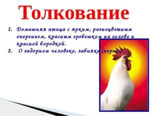 Толкование Домашняя птица с ярким, разноцветным оперением, красным гребешком