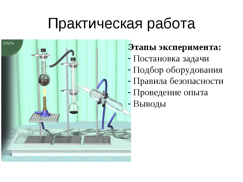 Практическая работа Этапы эксперимента: Постановка задачи Подбор оборудования...