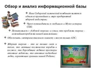 Обзор и анализ информационной базы Наш Сибирский химический комбинат является