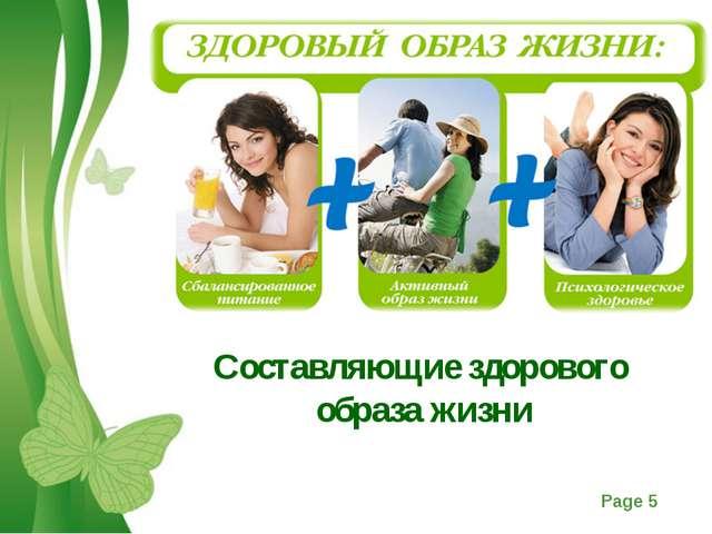 Составляющие здорового образа жизни Free Powerpoint Templates Page *