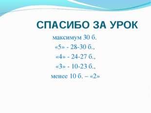СПАСИБО ЗА УРОК максимум 30 б. «5» - 28-30 б., «4» - 24-27 б., «3» - 10-23 б