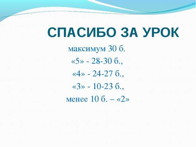 СПАСИБО ЗА УРОК максимум 30 б. «5» - 28-30 б., «4» - 24-27 б., «3» - 10-23 б...