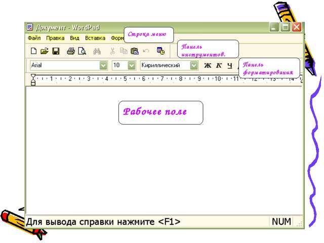 Строка меню Рабочее поле Панель инструментов. Панель форматирования.