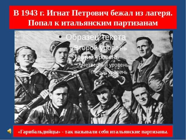 В 1943 г. Игнат Петрович бежал из лагеря. Попал к итальянским партизанам «Гар...