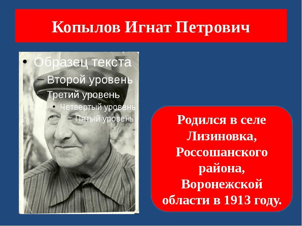 Копылов Игнат Петрович Родился в селе Лизиновка, Россошанского района, Вороне...