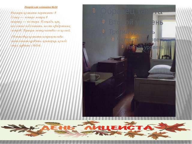 Лицейская комната №14 Размеры комнаты поражают: в длину—четыре метра, в шир...