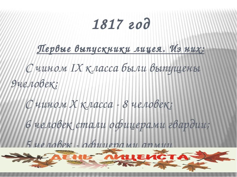 1817 год Первые выпускники лицея. Из них:  С чином IX класса были выпущены 9...
