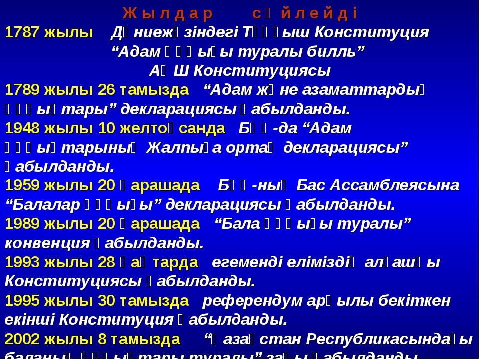 """Ж ы л д а р с ө й л е й д і 1787 жылы Дүниежүзіндегі Тұңғыш Конституция """"Адам..."""