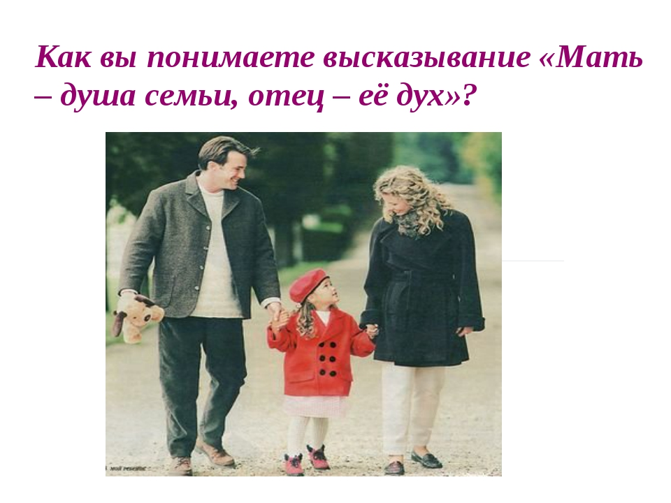 Как вы понимаете высказывание «Мать – душа семьи, отец – её дух»?