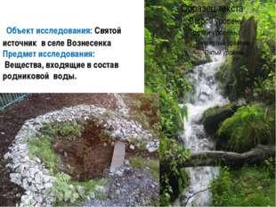 Объект исследования: Святой источник в селе Вознесенка Предмет исследования: