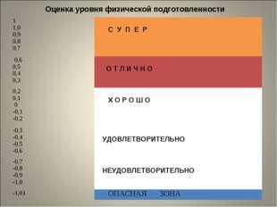 Оценка уровня физической подготовленности 1 1,0 0,9 0,8 0,7 С У П Е Р 0,6 0