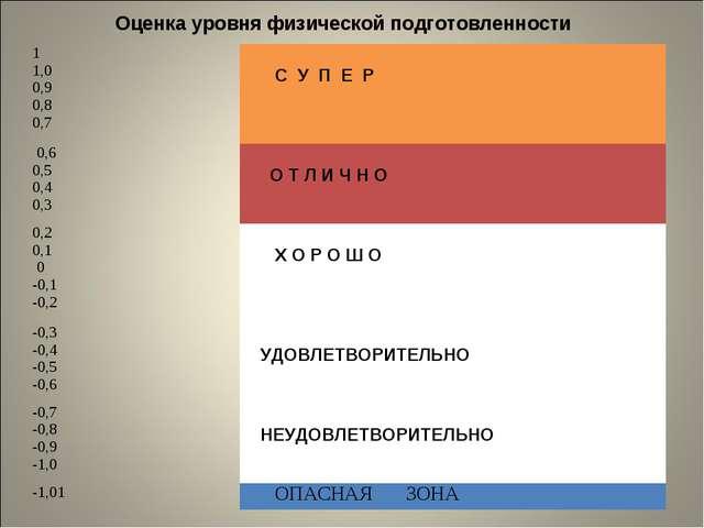 Оценка уровня физической подготовленности 1 1,0 0,9 0,8 0,7 С У П Е Р 0,6 0...