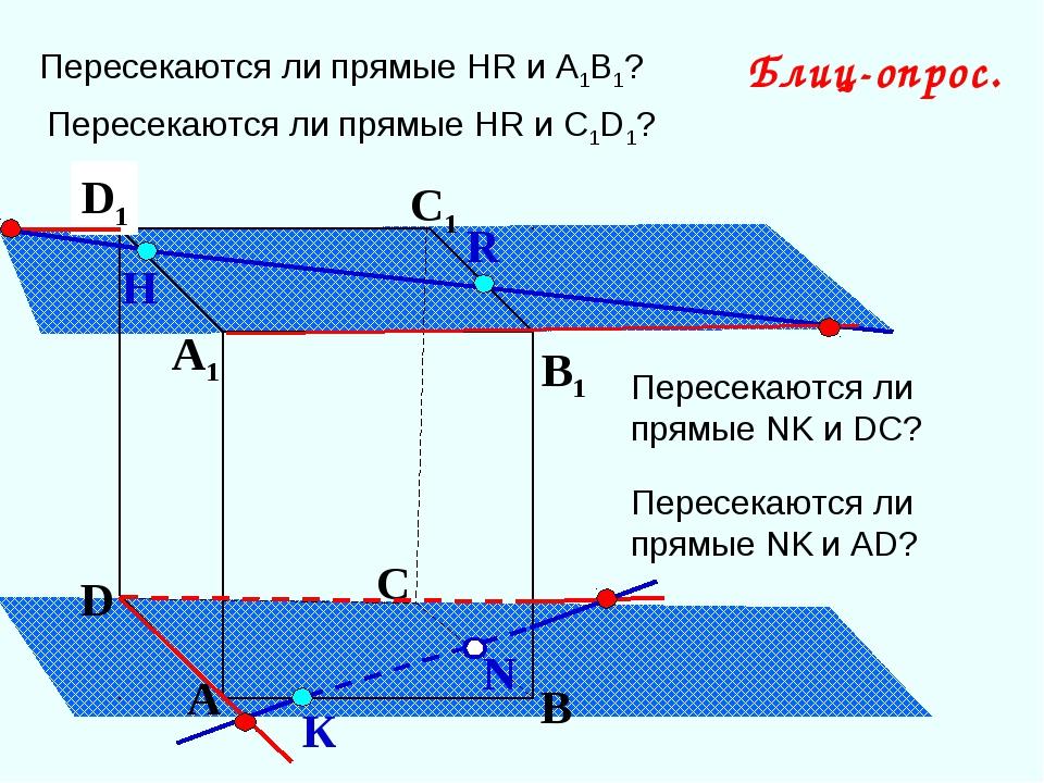 А В С D А1 D1 С1 B1 Пересекаются ли прямые НR и А1В1? N Н К Блиц-опрос. R Пер...