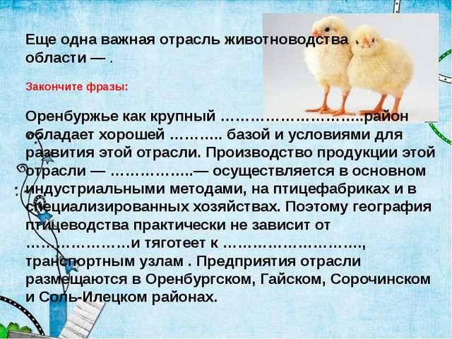 Еще одна важная отрасль животноводства области — . Закончите фразы: Оренбуржь...