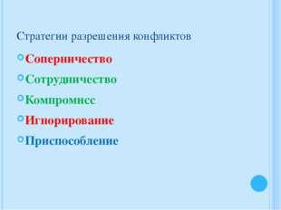 Стратегии разрешения конфликтов Соперничество Сотрудничество Компромисс Игнор