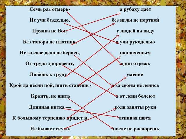 Семь раз отмерь- а рубаху дает Не учи безделью, без иглы не портной Прялка не...