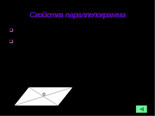 Свойства параллелограмма В параллелограмме противоположные стороны и углы рав...