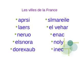 Les villes de la France aprsi laers neruo elsnora dorexaub slmareile el vehar