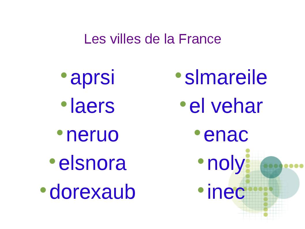 Les villes de la France aprsi laers neruo elsnora dorexaub slmareile el vehar...