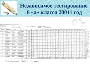 Независимое тестирование 6 «а» класса 20011 год