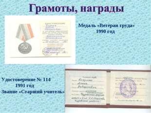 Медаль «Ветеран труда» 1990 год Удостоверение № 114 1991 год Звание «Старший